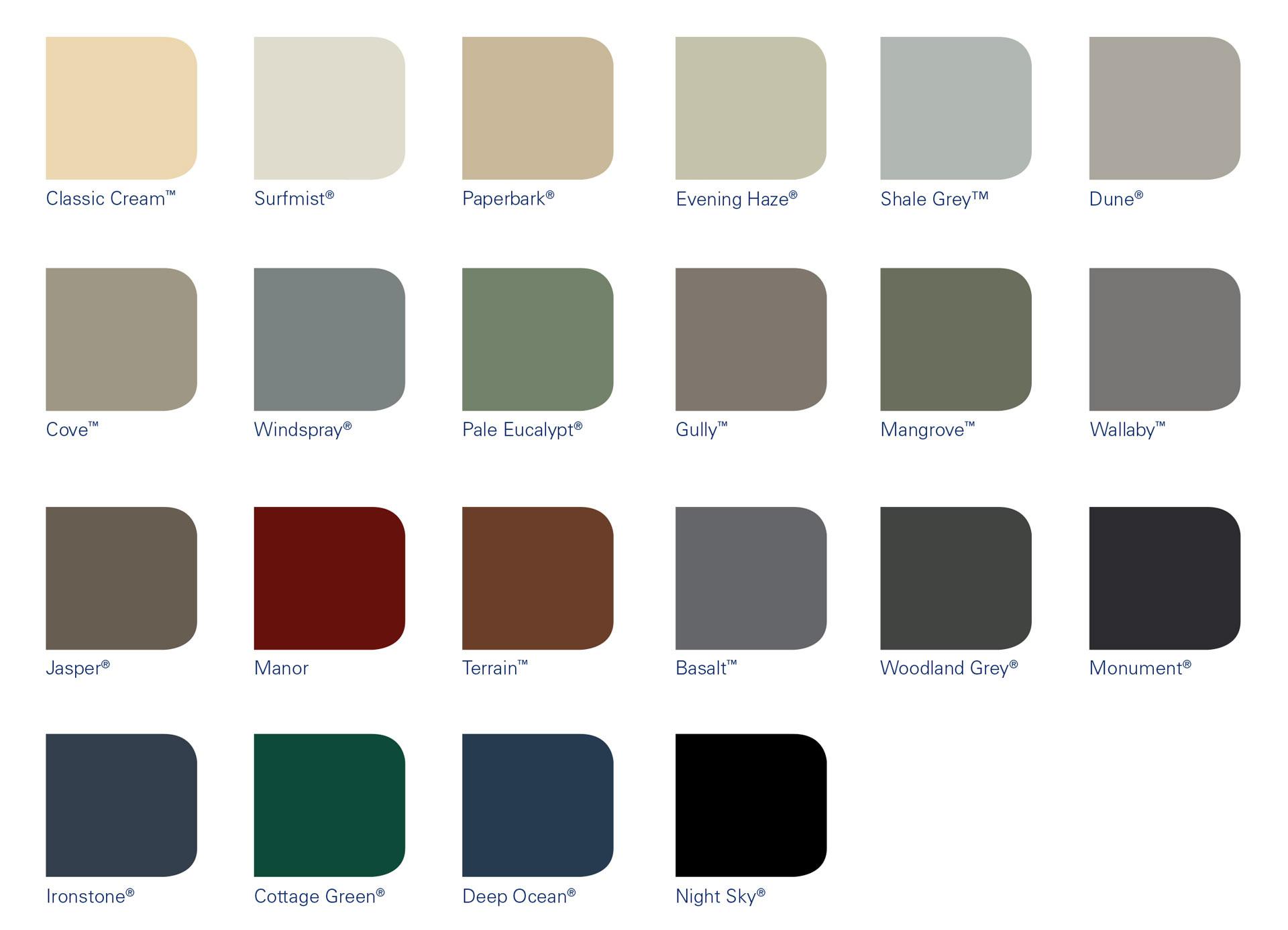 Colourbond Shed Colours Fielders Endurance Colours